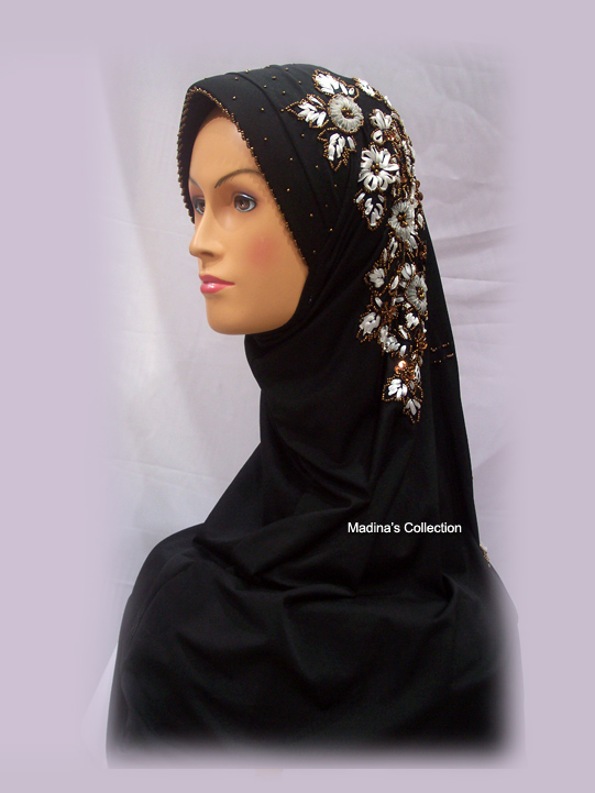 Jilbab 22 Jilbab Golden White Flower (J-14) * SOLD OUT *