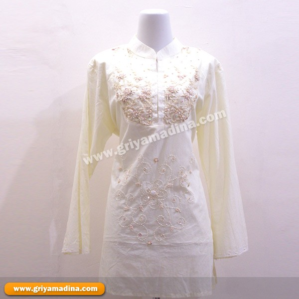 Baju Muslim Koleksi 14 Blus Putih Bordir Payet